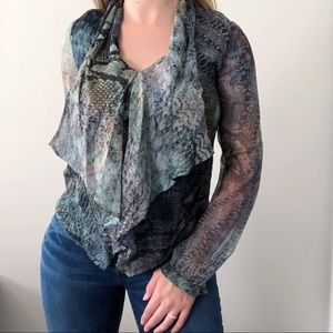 Haute Hippie Blue Snake Print Top Size Small